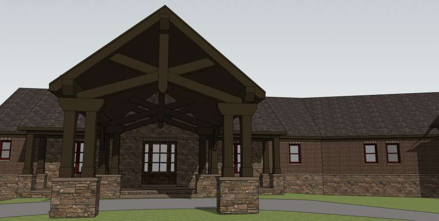 Brick Ranch Front Rendering
